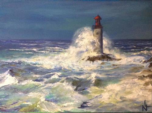 """Peinture """"Petit phare breton"""""""