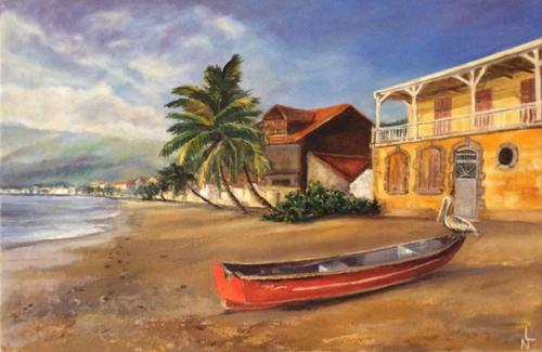 """Peinture """"Plage St Pierre en Martinique"""""""