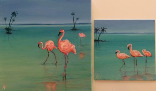 "Peinture ""Les flamands rose"""