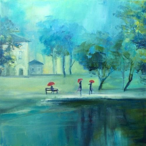 """Peinture """"Les parapluies rouges"""""""