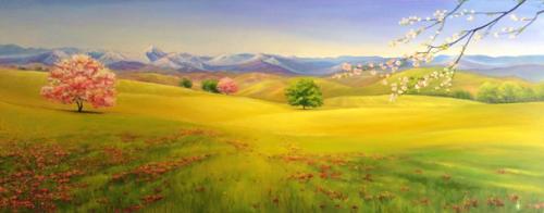 """Peinture """"Pyrénées au printemps"""""""