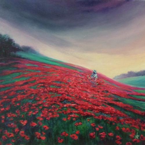 peinture-La colline aux coquelicots