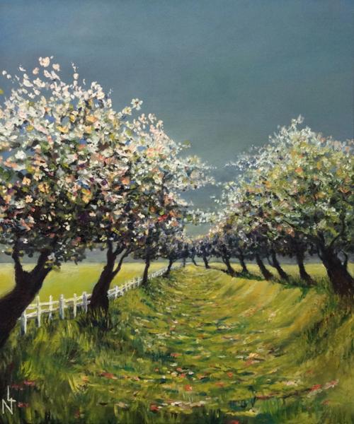 """Peinture """"Chemin des cerisiers"""""""
