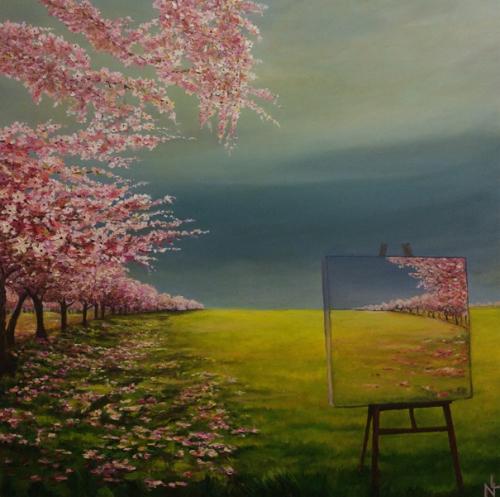 "Peinture ""Cerisiers en fleurs"""