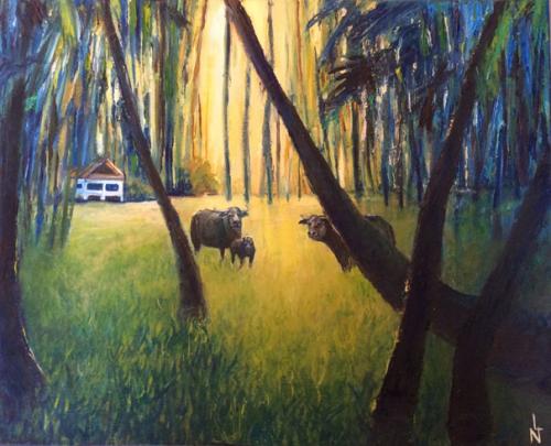 """Peinture """"Buffles Kho Samui"""""""