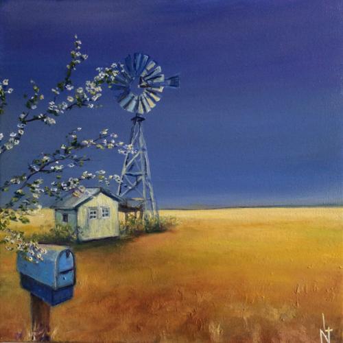 """Peinture """"Ma cabane dans l'Ouest américain"""""""