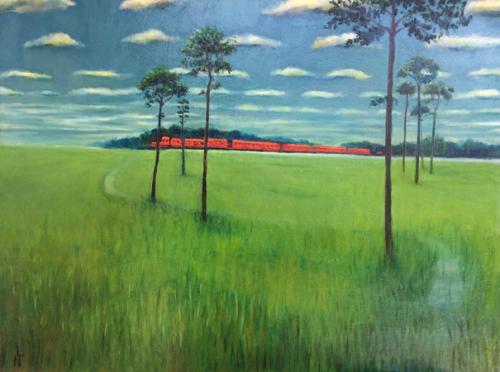 "Peinture ""Un train passe"""