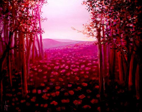 "Peinture ""Chemin des roses """