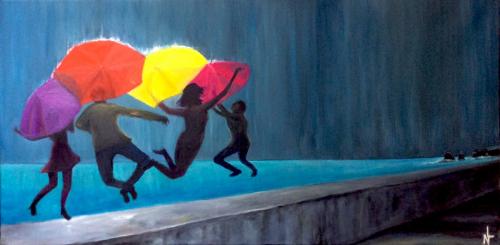 """peinture """"Dansons sous la pluie"""""""