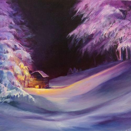 "Peinture "" l'arrivée au refuge"""