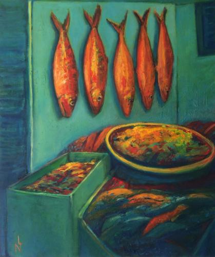 """Peinture """"Le marché aux poissons"""""""