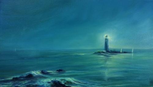 """Peinture """"un phare dans la brume"""""""